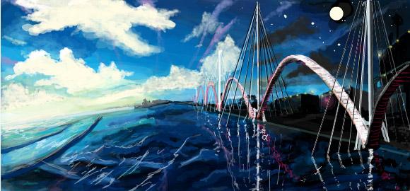 landscape water imagination digital graffiti art by chris hamner