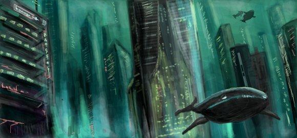 bioshock-inspired underwater city digital graffiti art by chris hamner