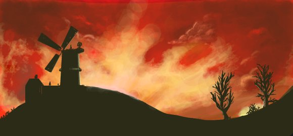 silhouetted windmill and furious skies digital graffiti by chris hamner