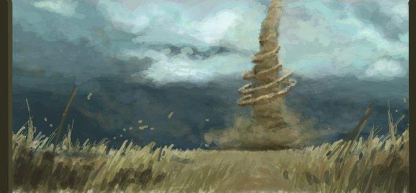 tornado in a wheat field digital graffiti art by chris hamner