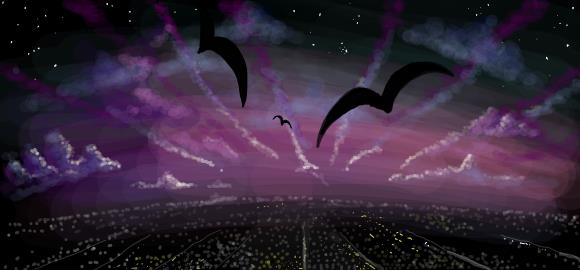 Night sky with birds, chris hamner digital graffiti