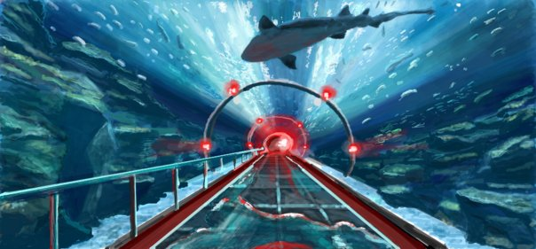 underwater aquarium drawing by chris hamner shark tunnel