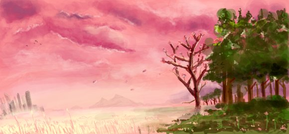 pink skies digital graffiti art by chris hamner